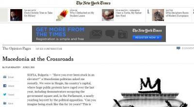 New York Times: Maqedonia është në udhërkyq