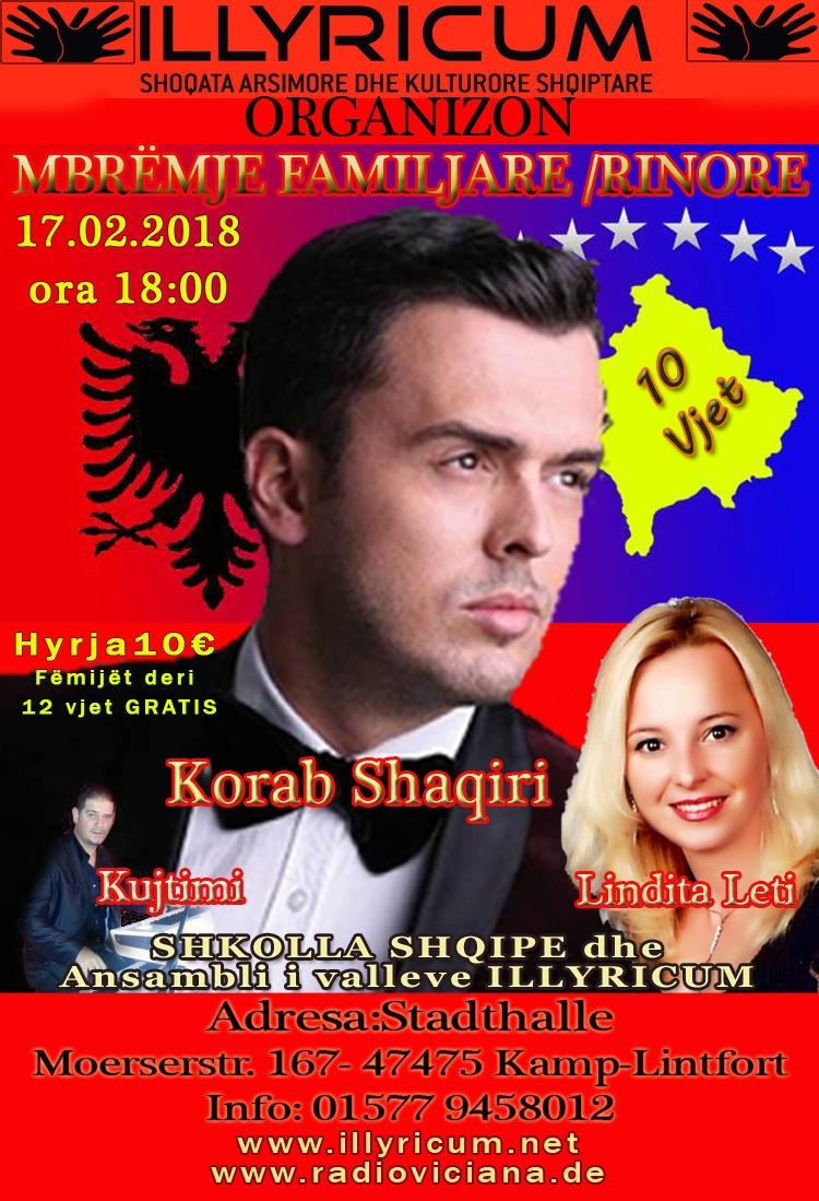17.02.2018 – Illyricum – Shoqata Arsimore dhe Kulturore Shqiptare – Organizon Mbëmje Familjare/Rinore – Korab Shaqiri, Lindita Leti dhe Kujtimi